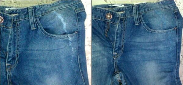 Как закрасить пятно от белизны на джинсах